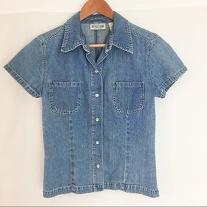 Gap Blue Jeans Denim Fitted Top Sz S Pearl Snap